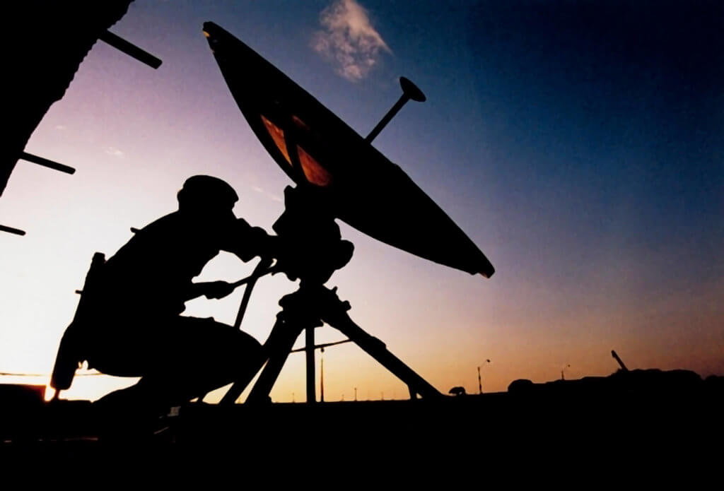 Soldier Operating Satellite Dish