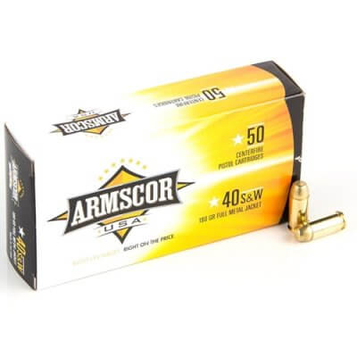 Armscor USA 40 S&W Ammo 180 Grain Full Metal Jacket